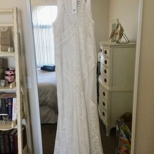 White Lace French Connection Maxi Dress Size 10